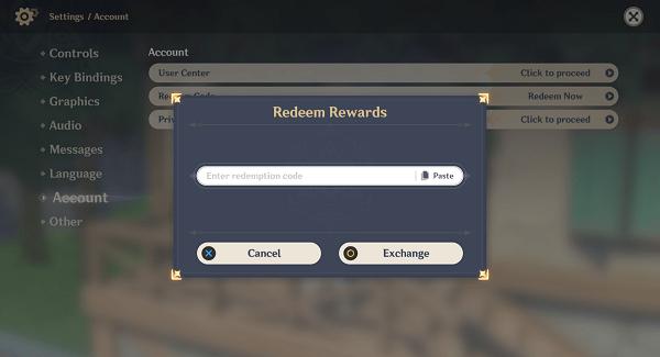 códigos de Genshin Impact - canjear recompensas