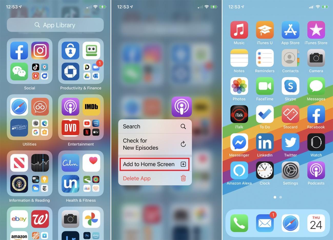 añadir la aplicación a la pantalla de inicio