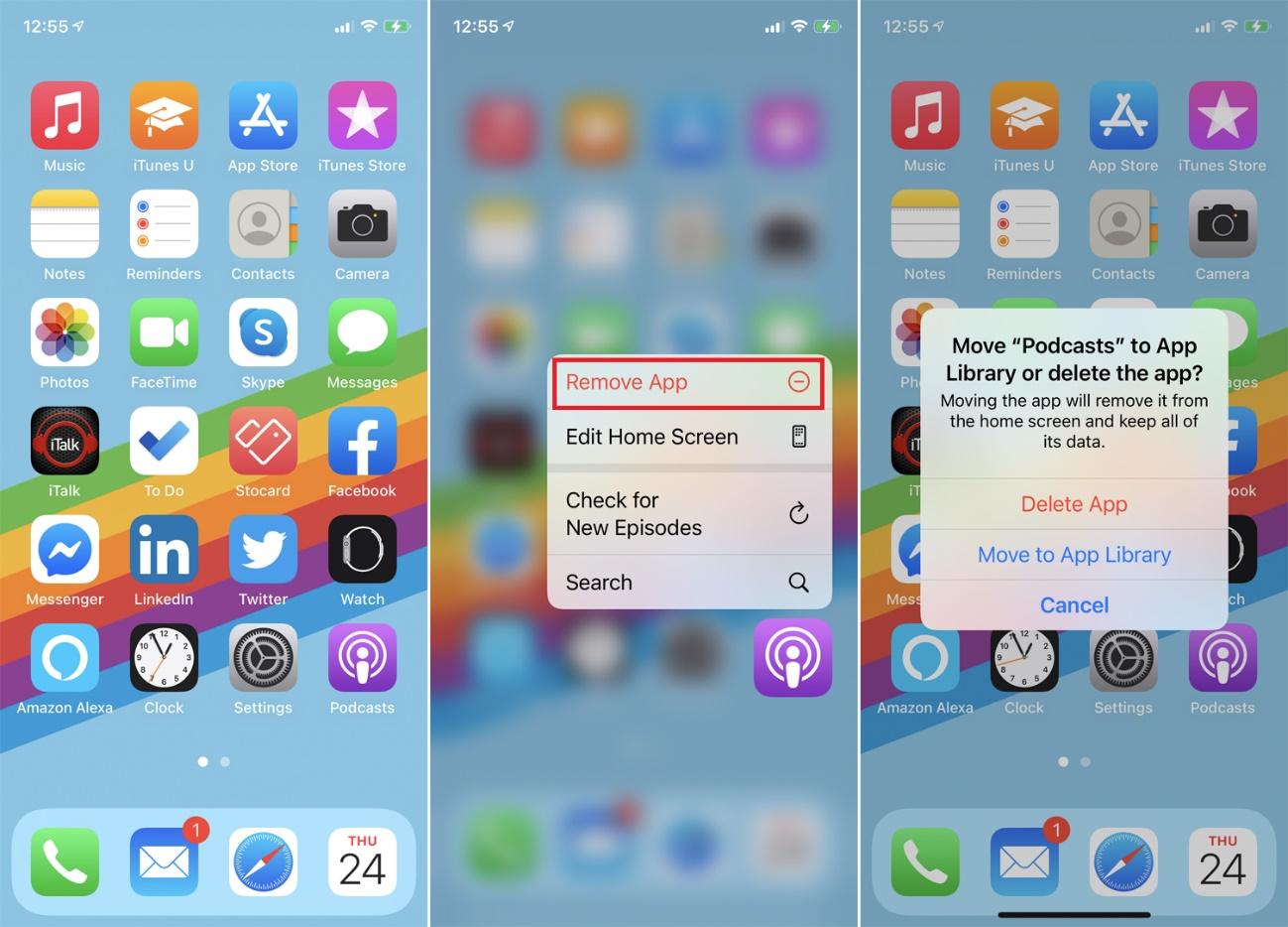 eliminación de la aplicación de la pantalla de inicio