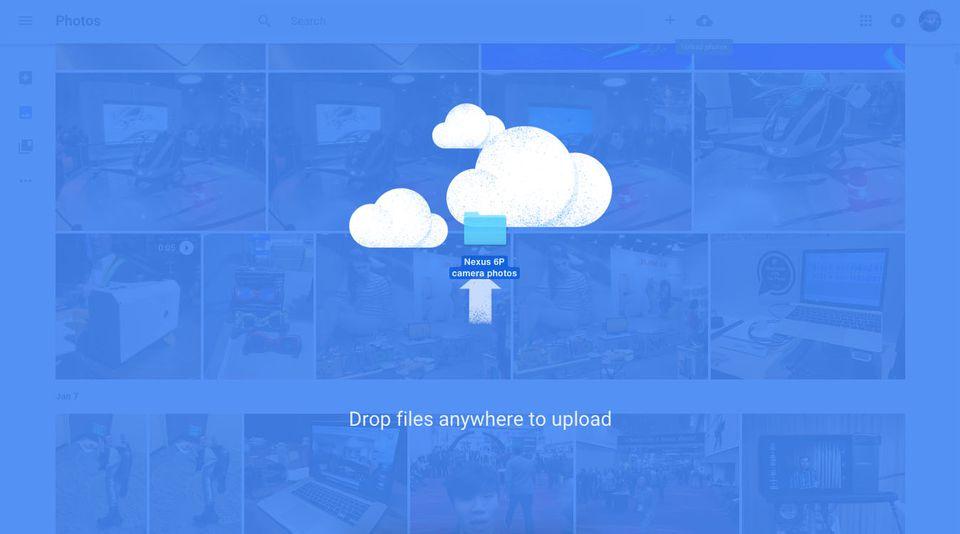 Arrastra y suelta archivos para cargarlos en Google Fotos.