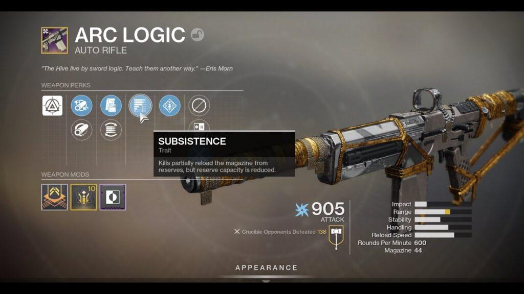Beneficio de subsistencia en Destiny 2