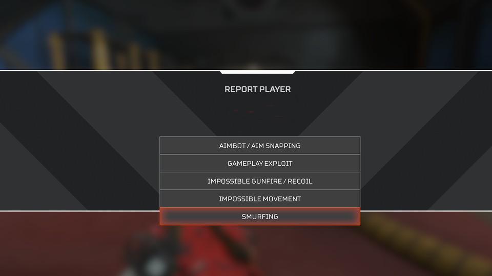 Pantalla de Apex Legends para informar a los jugadores