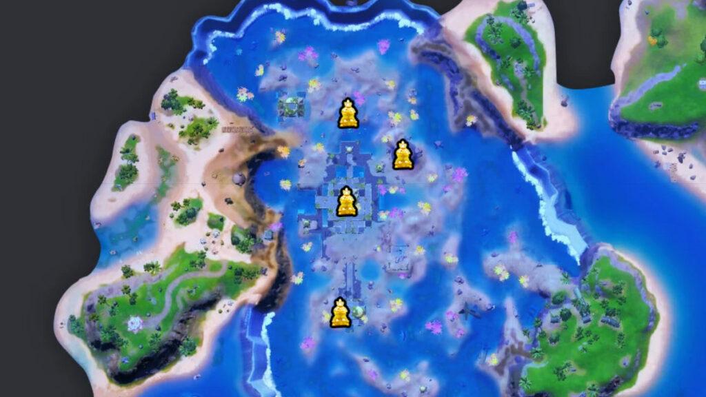 ubicaciones de artefactos del castillo de coral