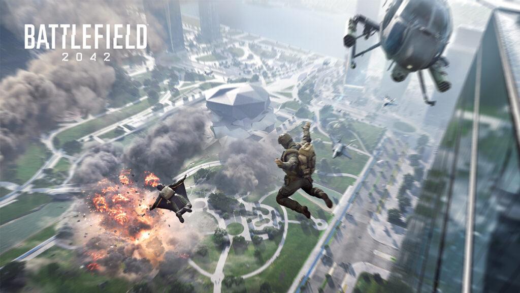 Jugadores saltando de un helicóptero en Battlefield 2042
