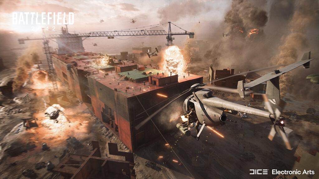 Helicipter volando en Battlefield 2042