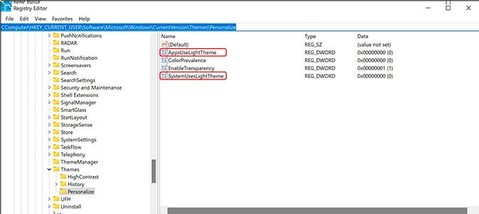 cambiar el tema de Windows 11 a través de regedit