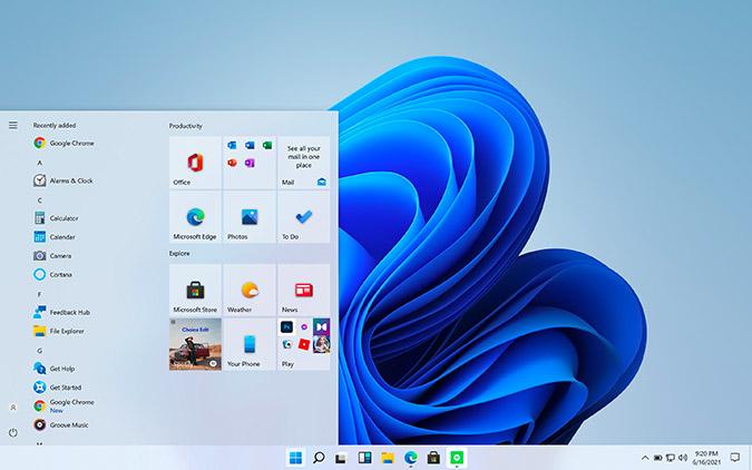 menú de inicio clásico de Windows 10 en Windows 11