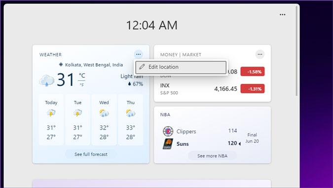 editar la ubicación del clima en los widgets de Windows 11
