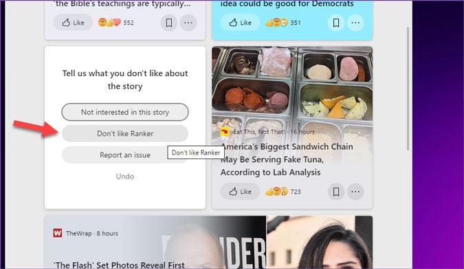 ocultar el sitio web de noticias de los widgets