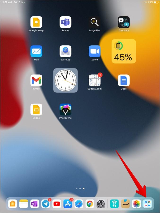 Biblioteca de aplicaciones iPad Acess desde el muelle