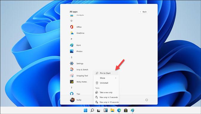 anclar aplicaciones al menú de inicio en Windows 11