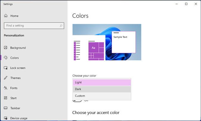 elegir tema oscuro para el menú de inicio de Windows 11