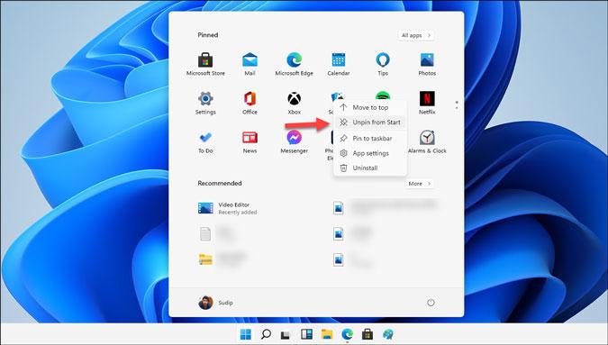 desanclar aplicaciones del menú de inicio en Windows 11