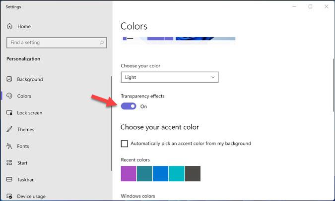 habilitar el menú de inicio transparente en Windows 11