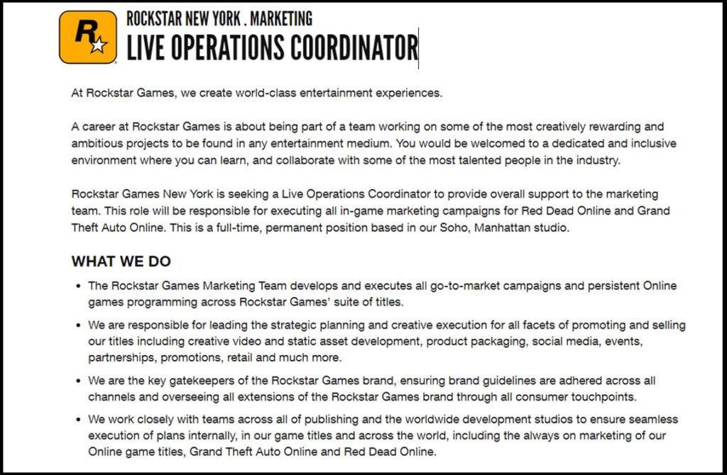 Listado de trabajos de coordinador de operaciones en vivo de Rockstar Games