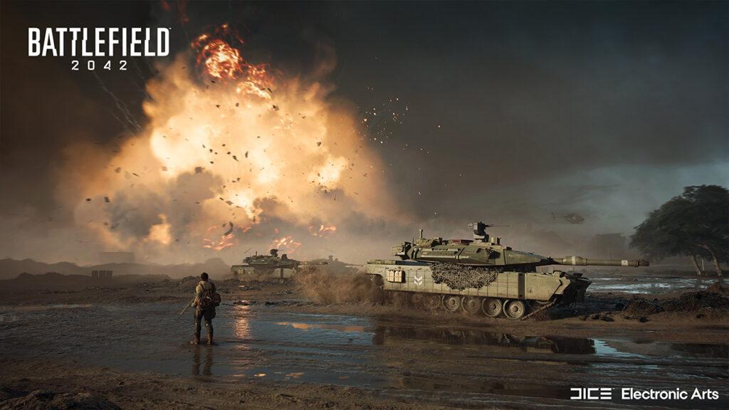 Tanque y jugadores de Battlefield 2042