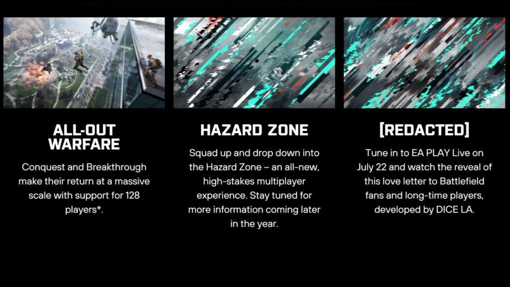 diferentes modos de juego que estarán en Battlefield 2042