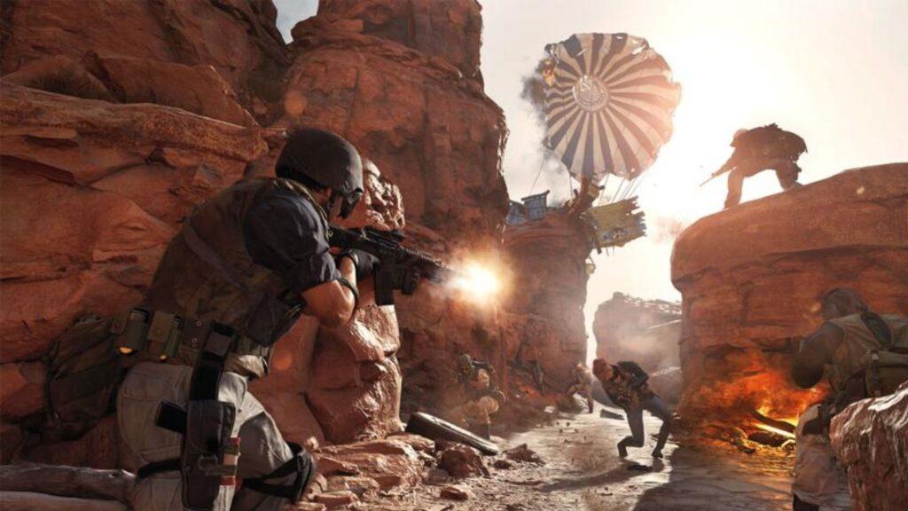 jugadores en combate en el mapa satelital de bacalao de la guerra fría
