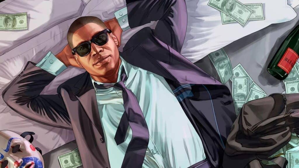 personaje de gta 5 acostado en la cama de dinero