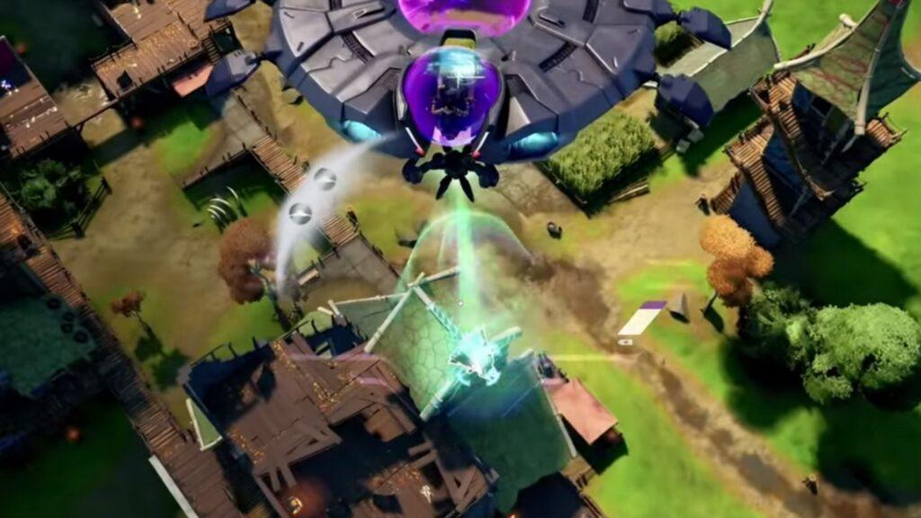 Jugador de Fortnite secuestrando a un enemigo con un OVNI