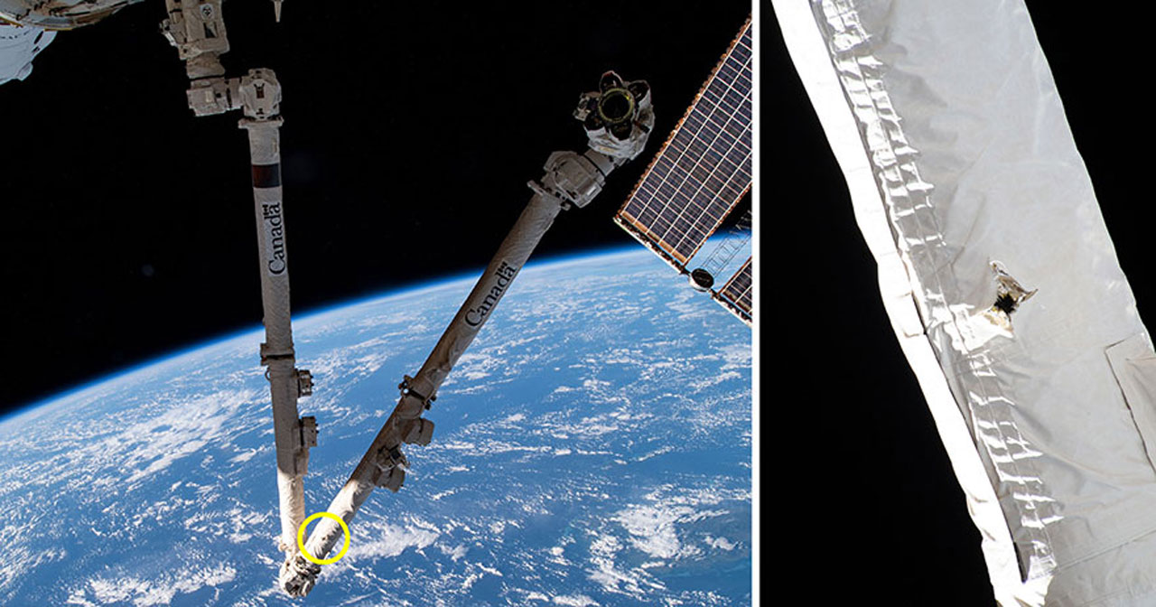 ISS Canadarm2 robotic arm survives impact with orbital debris