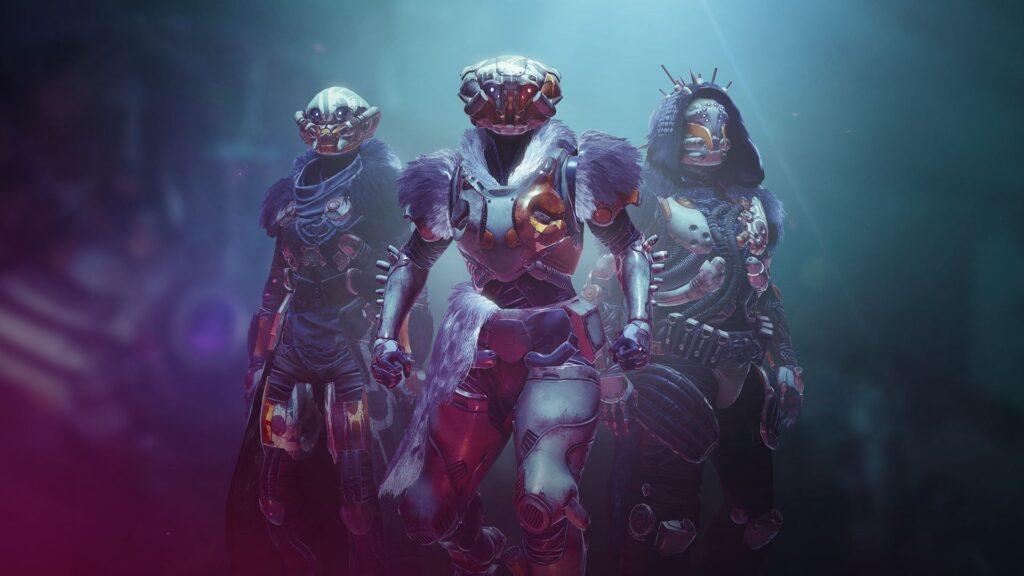 tres personajes de destiny 2 parados juntos