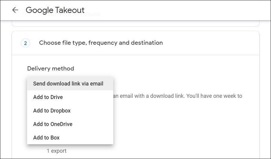 Método de entrega de Google Takeout