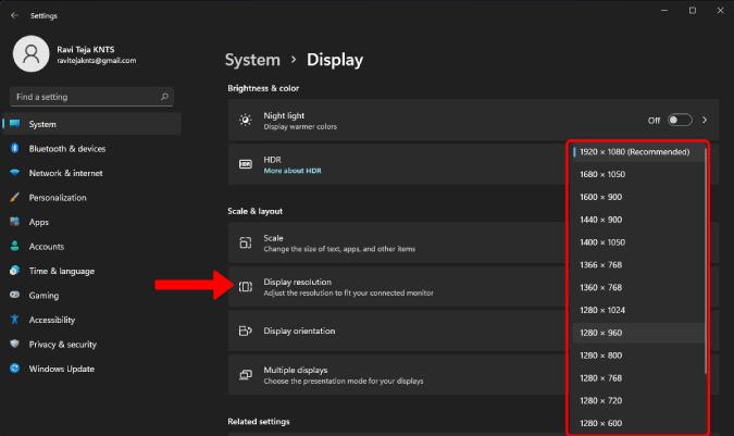Cambiar la resolución de la pantalla en Windows 11