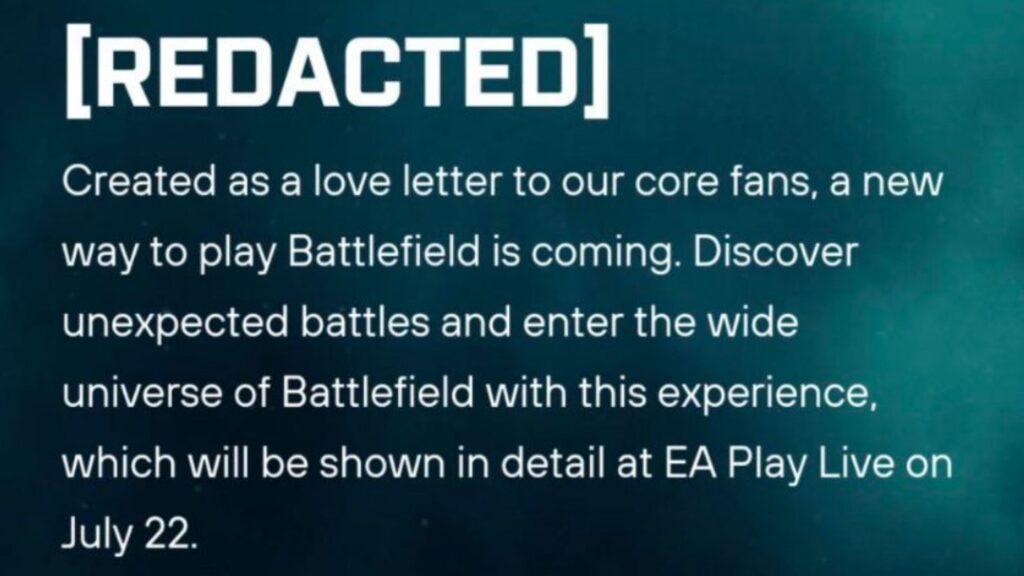 información sobre el modo de juego CENSURADO no revelado de Battlefield 2042