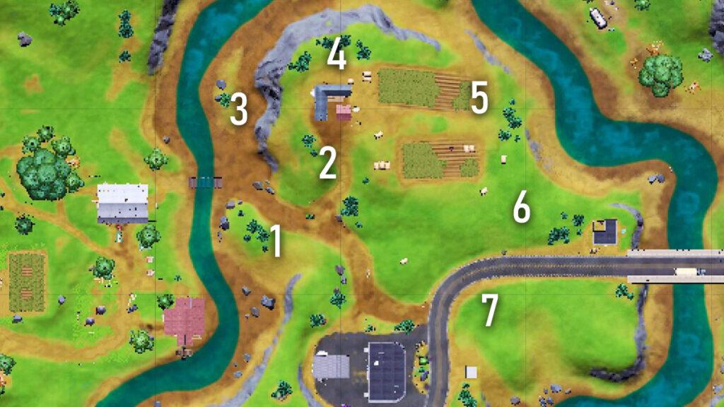 Fortnite Season 7 cow señuelo ubicaciones de la granja de Hayseed