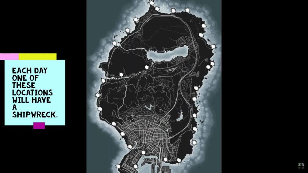 Mapa de ubicaciones de naufragios de GTA Online